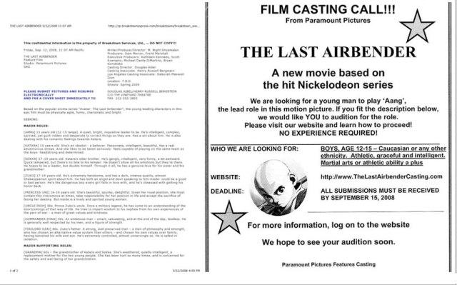 Last Airbender Casting Call - Via io9.com