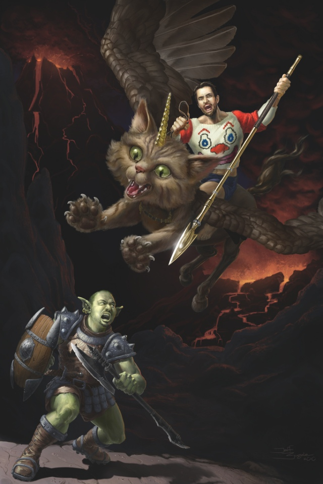 Wil Wheaton riding a unicorn kitty, hunting Orc-John Scazi down with a vengeance